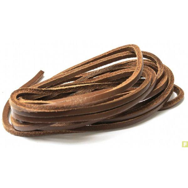 64dbf7e199b6 Lacets pour chaussures bateaux en cuir carré marron foncé